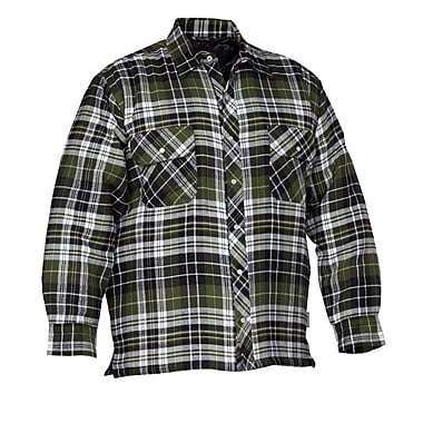 Forcefield Quilted Flannel Shirt, Green, Size Medium