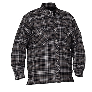 Forcefield Quilted Flannel Shirt, Grey, Size Large