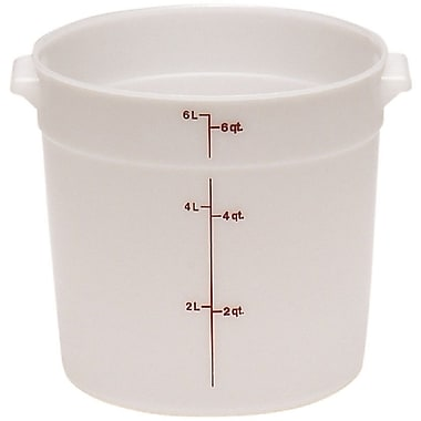 Cambro RFS6-148 Poly Round Storage Container, 6 Quart, White, 12/Pack