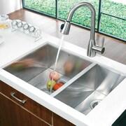 Vigo Alma 29 inch Undermount 75/25 Double Bowl 16 Gauge Stainless Steel Kitchen Sink; No