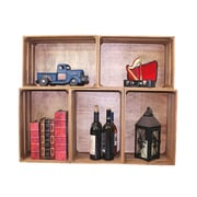 Quickway Imports Stackable Antique Style Wooden Crate Decorative Shelving