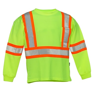 Forcefield Long Sleeve Safety Tee, Lime, Medium