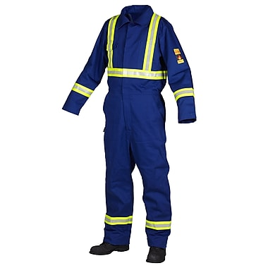 Forcefield Flame Resistant 100% Cotton Coverall, Royal Blue, Regular, Size 54