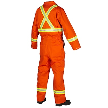 Forcefield Flame Resistant 100% Cotton Coverall, Orange, Regular, Size 46