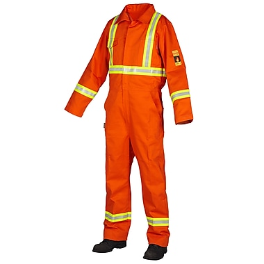 Forcefield Flame Resistant 100% Cotton Coverall, Orange, Regular, Size 42