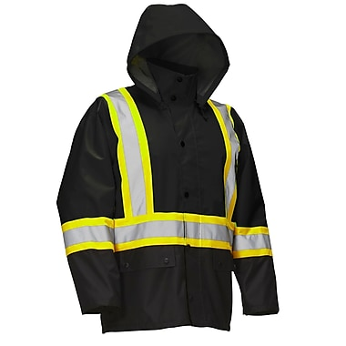 Forcefield Safety Rain Jacket, Black, Large