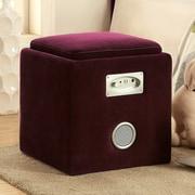 Hokku Designs Reverb Cube Ottoman w/ Bluetooth Speakers; Purple