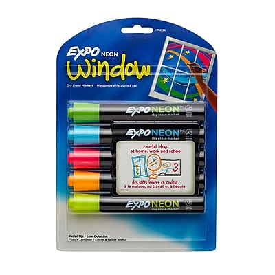 Expo® Neon Low Odor Bullet Tip Dry-Erase Markers, Assorted Colors, 5/pk (1874689)