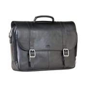 "Mancini 15.5"" Double Compartment Briefcase for Laptop and Tablet, Black"