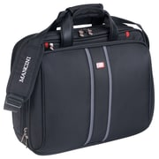 "Mancini  17"" RFID Secure Triple Compartment Briefcase for Laptop and Tablet, Black"