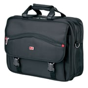 """Mancini  17"""" Double Compartment Briefcase for Laptop and Tablet, Black"""