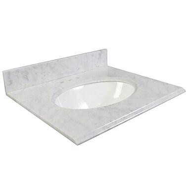Foremost – Comptoir 31 po, granite blanc Carrara, trous robinet central 4 po, évier encastré inclus, dosseret arrière/latéral