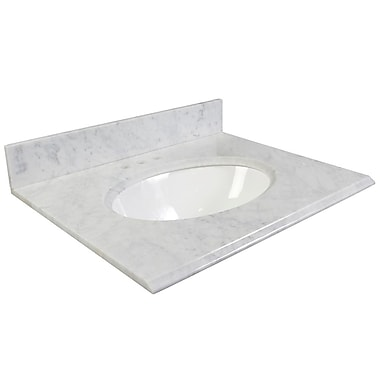 Foremost – Comptoir 37 po, granite blanc Carrara, trous robinet central 4 po, évier encastré inclus, dosseret arrière/latéral