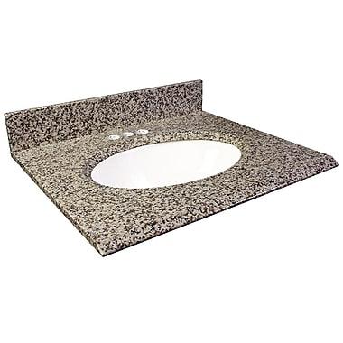 Foremost – Comptoir 37 po, granite brun Murcia, trous robinet central 4 po, évier encastré inclus, dosseret arrière/latéral