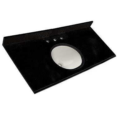 Foremost – Comptoir 49 po, granite noir tempête, trous robinet central 8 po, évier encastré inclus, dosseret arrière/latéral
