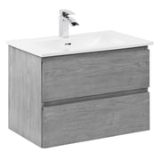 "Foremost Marleau 23-1/2"" Wall Hung Vanity Combo, Ash Grey Finish, White Vitreous China Sink"