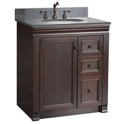 "Foremost Shawna Collection 30"" Vanity, Tobacco Finish, 1 Right Door, 2 Slow-Close Drawers, Assembled Vanity"