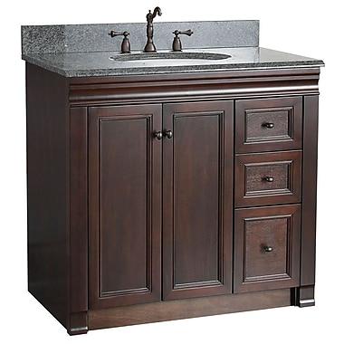 Foremost – Meuble-lavabo de 36 po, collection Shawna, fini tabac, 2 portes droites, 3 tiroirs fermeture en douceur, assemblé