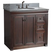 "Foremost Shawna Collection 36"" Vanity, Tobacco Finish, 2 Right Doors, 3 Slow-Close Drawers, Assembled Vanity"