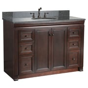 "Foremost Shawna Collection 48"" Vanity, Tobacco Finish, 2 Doors, 6 Slow-Close Drawers"