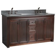 "Foremost Shawna Collection 60"" Vanity, Tobacco Finish, 4 Doors, 3 Slow-Close Drawers"