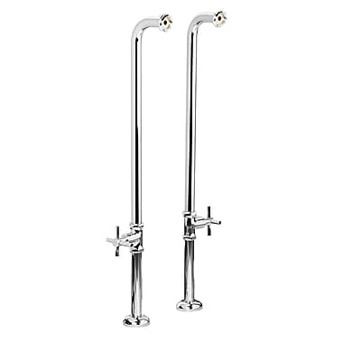 Foremost Chrome Over The Tub Supply Lines, Floor Mount Water Supply Lines with Escutcheon, Cross Handle Shut Off Valves,