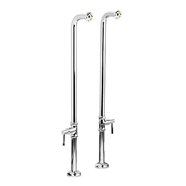 Foremost Chrome Over The Tub Supply Lines, Floor Mount Water Supply Lines with Escutcheon, Lever Handle Shut Off Valves