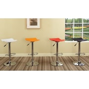 InRoom Designs Adjustable Height Swivel Bar Stool; Red