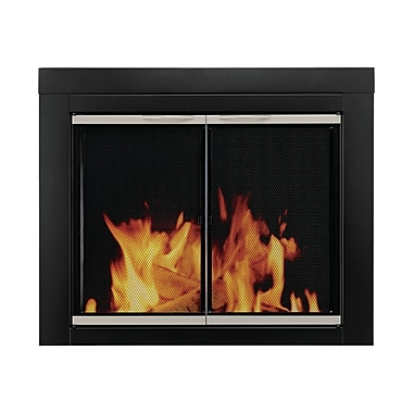 Pleasant Hearth Alsip Cabinet Style Fireplace Screen and Glass Door; Medium