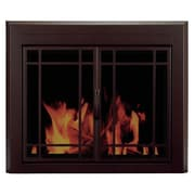 Pleasant Hearth Enfield Prairie Cabinet Style Fireplace Screen and 9-Pane Smoked Glass Door; Small