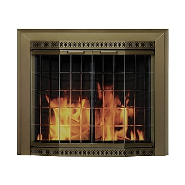 Pleasant Hearth Grandior Bay Fireplace Screen and Bi-Fold Track-Free Elegant Clear Glass Door; Large