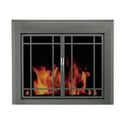 Pleasant Hearth Edinburg Prairie Cabinet Style Fireplace Screen and 9-Pane Smoked Glass Door; Small