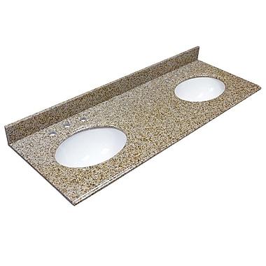 Foremost – Comptoir de 61 po en granite, trous à robinet central 8 po, évier encastré préinstallé, dosseret arrière et latéral