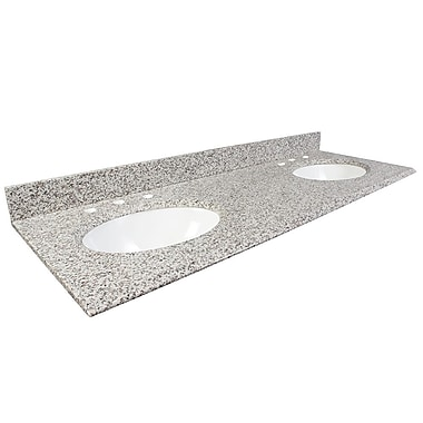 Foremost – Comptoir 61 po en granite blanc frêne, trous à robinet central 8 po, avec évier encastré, dosseret arrière et latéral