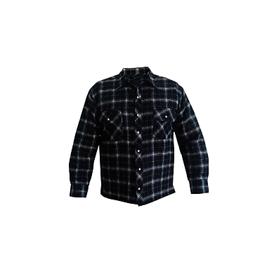 Forcefield Quilted Flannel Shirt, Black, Size Large