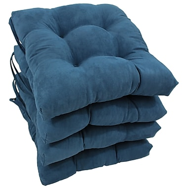 Blazing Needles Outdoor Dining Chair Cushion (Set of 4); Indigo