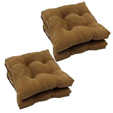 Blazing Needles Outdoor Dining Chair Cushion (Set of 4); Saddle Brown