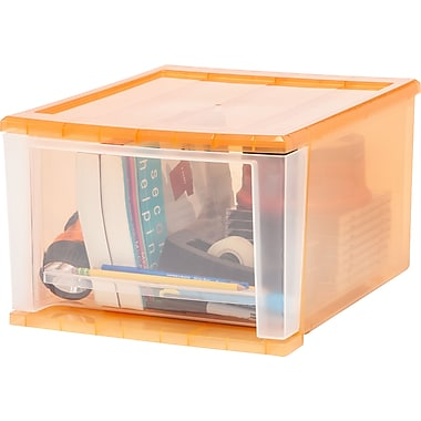 IRIS® 17 Quart Medium Stacking Drawer, Sunkissed, 4 Pack (129833)
