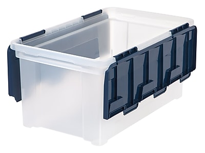Staples® 12-Gallon Tote, Navy Lid