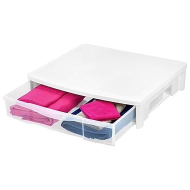 IRIS® Underbed Storage Drawer, White, 3 Pack (130231)
