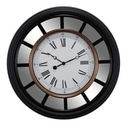 "Kiera Grace 22"" Vintage Mirrored Wall Clock, Black"