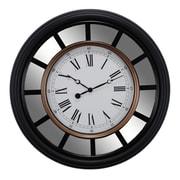 Kiera Grace – Horloge murale rétro avec miroir de 22 po, noire