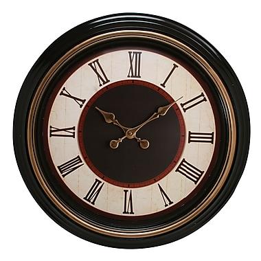 Kiera Grace – Horloge murale ronde Everett de 20 po, brune