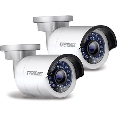 TRENDNet Outdoor 1.3 MP HD PoE IR Network Camera, Twin Pack, White
