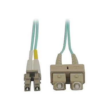 Tripp Lite N816-02M 2m SC/LC Male/Male 50/125 OM3 Duplex Multimode Fiber Optic Patch Cable, Aqua