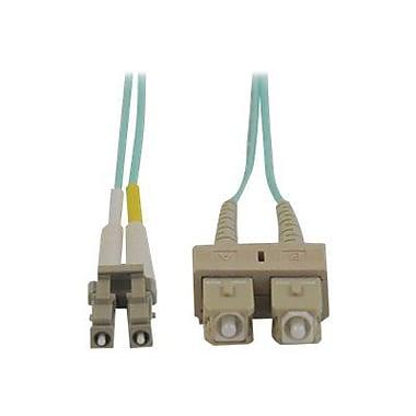 Tripp Lite N816-03M 3m SC/LC Male/Male 50/125 OM3 Duplex Multimode Fiber Optic Patch Cable, Aqua (1052138)