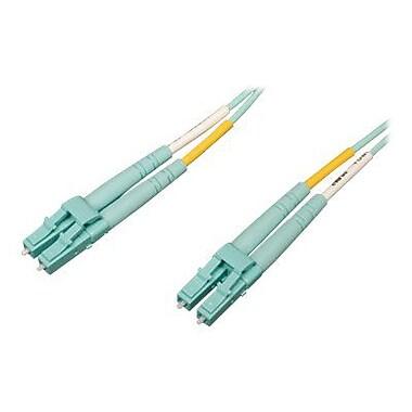 Tripp Lite® N820 3' OM4 Multi-Mode Fiber Duplex LC Male/Male Patch Cable, Aqua