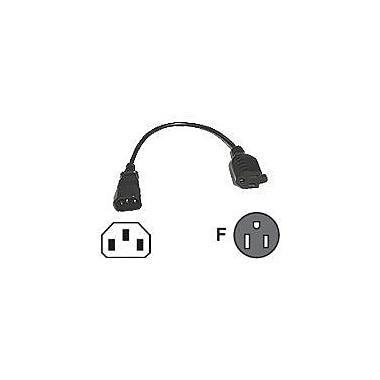 C2G ® 1' IEC320C14/NEMA 5-15R Male/Female Monitor Power Adapter Cord, Black (3147)