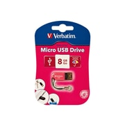 Verbatim ® Store 'n' Go 8GB 10Mbps Read/4Mbps Write Micro USB 2.0 Flash Drive, Hot Pink (47424)