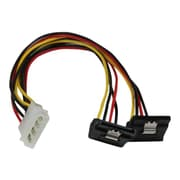 "StarTech  PYO2LP4LSATR 12"" LP4 to 2x Right Angle Latching SATA Power Y Cable Splitter, 4 Pin Molex to Dual SATA"